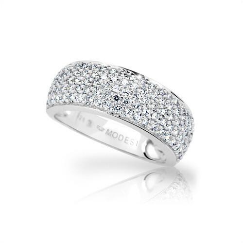 204 Stribrny prsten MODESI se zirkony rhodium WYDXH-R