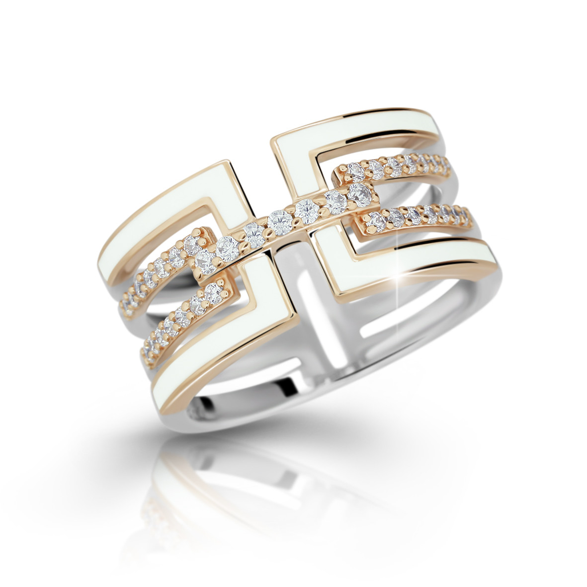 MODESI M11072 Ring Rose Plated White Enamel