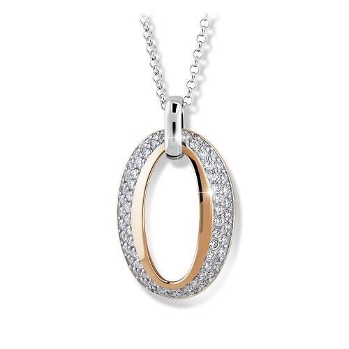 Luxusní stříbrný náhrdelník MODESI M45005 Bicolor se zirkony a zlacením z růžového zlata