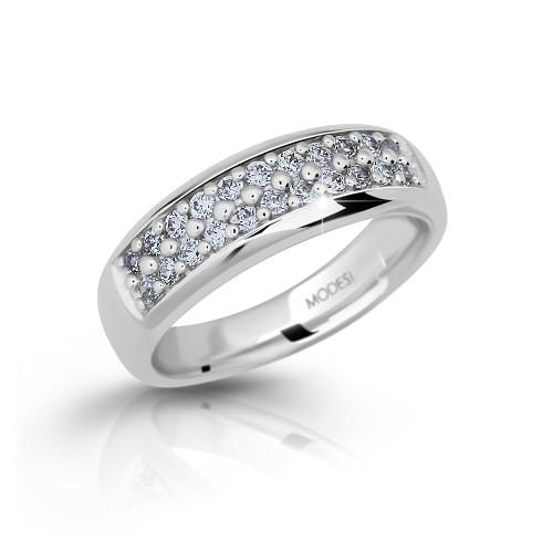 Stříbrný prsten se zirkony MODESI M11083