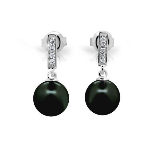 Perlové náušnice MODESI s černými perlami